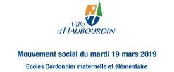 Mouvent social du 19 mars 2019 – Ecoles Cordonnier maternelle et élémentaire